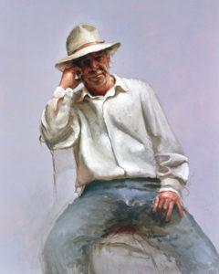 Olieverf portret door Gerrit Breteler van - Architect en beeldend kunstenaar Gunnar Daan